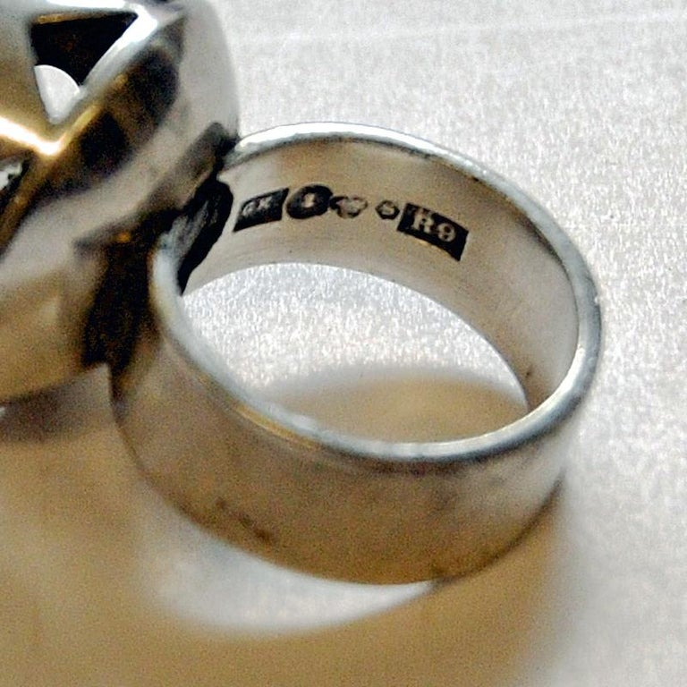 Swedish Crystal Brilliantcut Stone Silver Ring by Kaplan Stockholm, 1967 For Sale 3