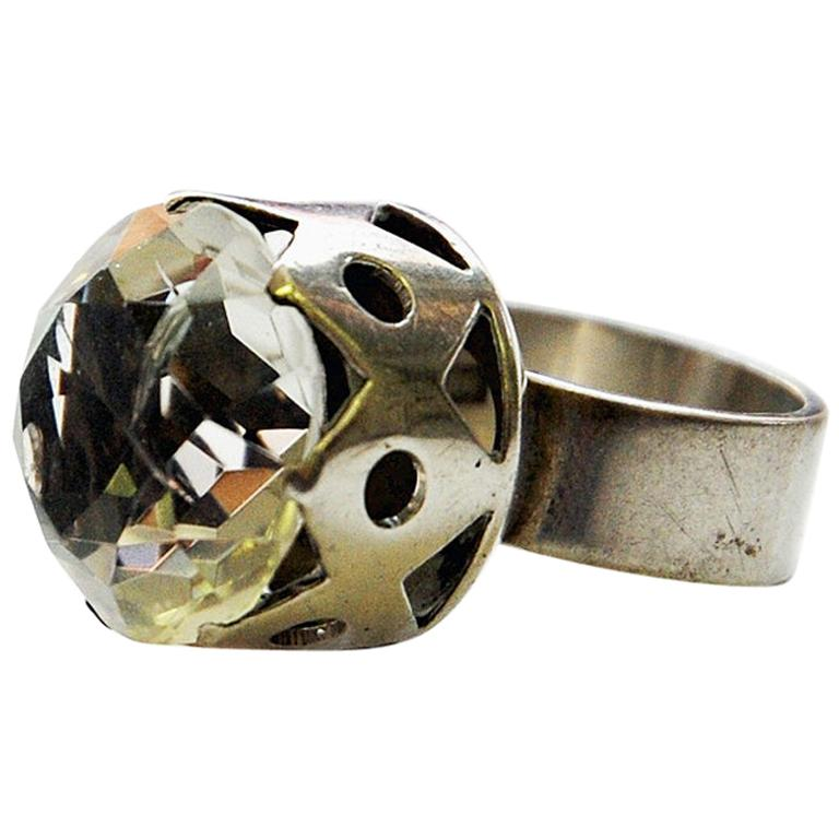Swedish Crystal Brilliantcut Stone Silver Ring by Kaplan Stockholm, 1967 For Sale
