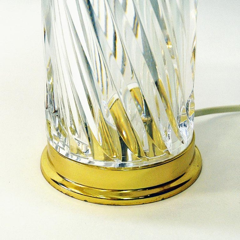 Swedish Crystal Glass and Brass Table Lamp by Olle Alberius for Orrefors, 1970s 1