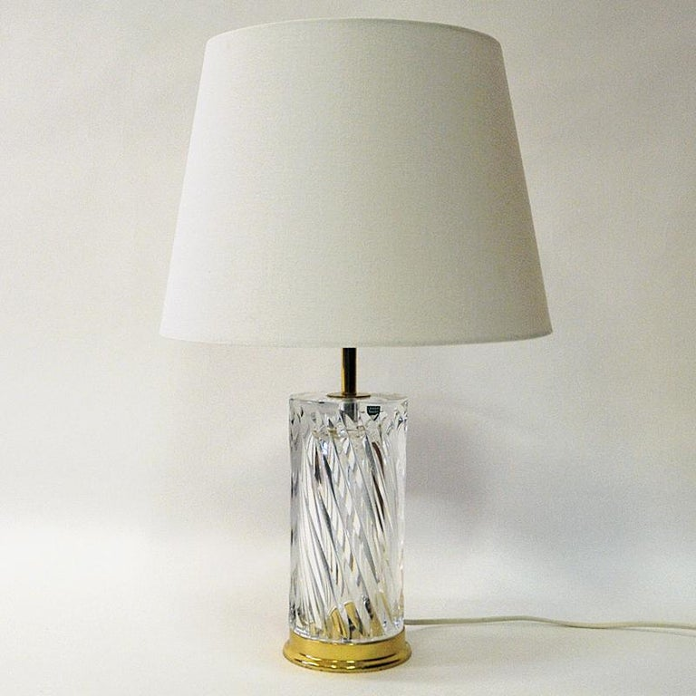 Swedish Crystal Glass and Brass Table Lamp by Olle Alberius for Orrefors, 1970s 2