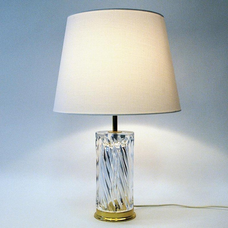 Swedish Crystal Glass and Brass Table Lamp by Olle Alberius for Orrefors, 1970s 3