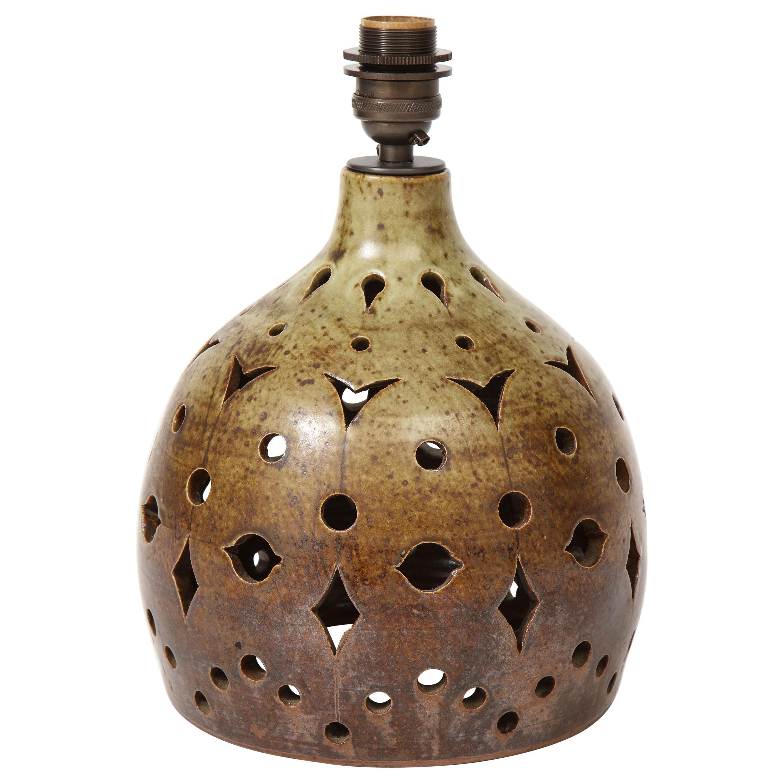 Jean Morel Cut-out Ceramic Vintage Lamp, France, c. 1950