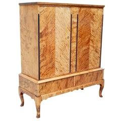 Swedish Deco Era Biedermeier Revival Cabinet in Highly Figured Golden Birch
