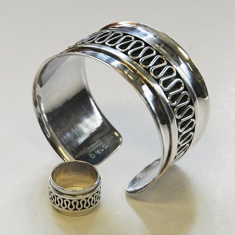 Scandinavian Modern Swedish Decor Silver Bracelet and Ring Set by Willy Käfling, 1971 For Sale