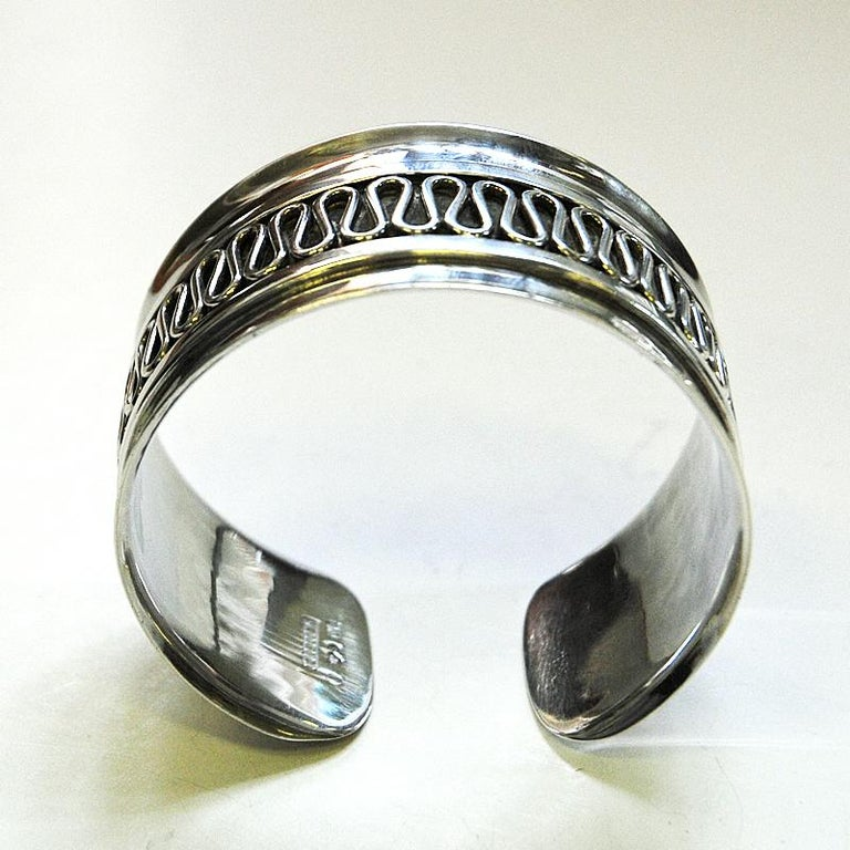Swedish Decor Silver Bracelet and Ring Set by Willy Käfling, 1971 For Sale 1
