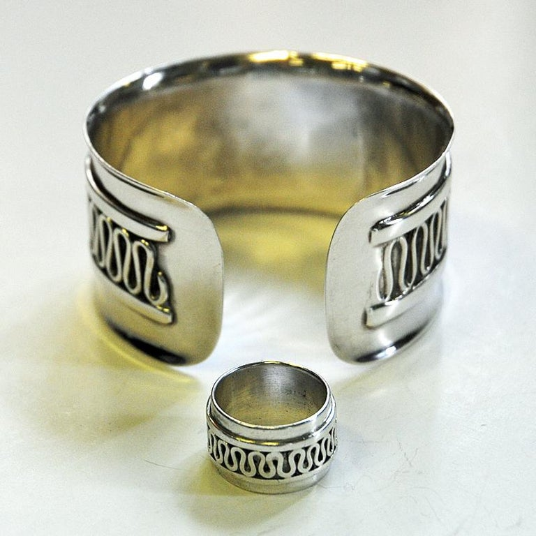 Swedish Decor Silver Bracelet and Ring Set by Willy Käfling, 1971 For Sale 2