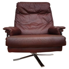Swedish Design, Arne Norell Lounge Chair, Original Upholstery, Leather, Chrome