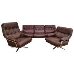 Swedish Design, Arne Norell Sofa Set, Original Upholstery, Leather, Chrome Steel
