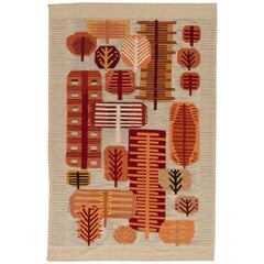 Swedish Design Beige, Red and Orange Flat-Weave Wool Rug