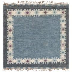 Swedish Design Blue, Gray, Purple and White Flat-Weave Wool Rug