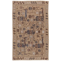Swedish Design Camel, Beige, Brown and Blue Flat-Woven Wool Rug