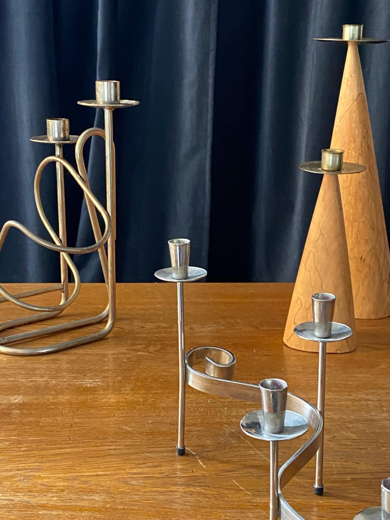 Mid-Century Modern Swedish Design, Collection of Candlesticks or Candelabra, Wood, Brass, Steel For Sale