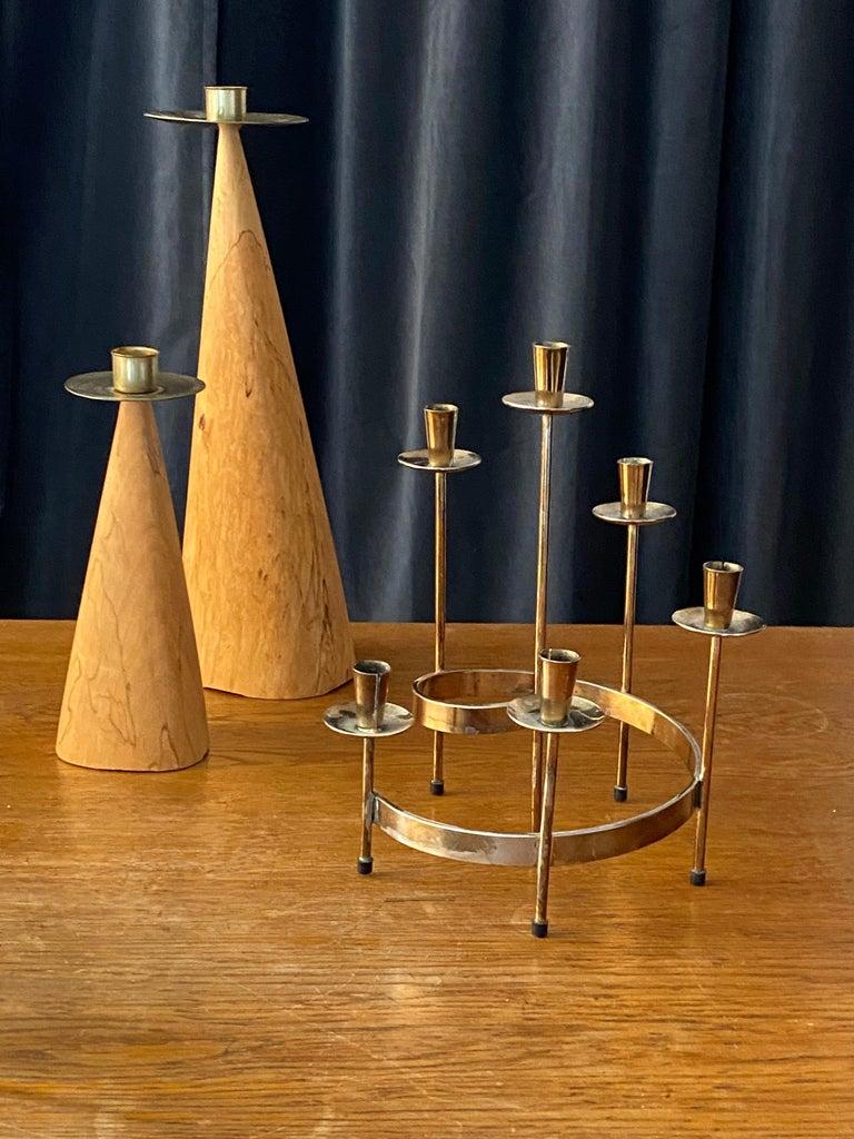 European Swedish Design, Collection of Candlesticks or Candelabra, Wood, Brass, Steel For Sale