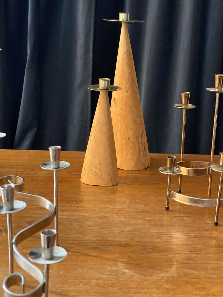 Swedish Design, Collection of Candlesticks or Candelabra, Wood, Brass, Steel In Good Condition For Sale In West Palm Beach, FL