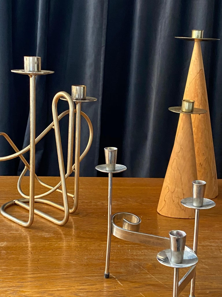 Mid-20th Century Swedish Design, Collection of Candlesticks or Candelabra, Wood, Brass, Steel For Sale