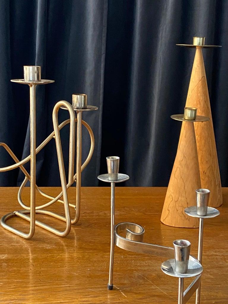 Metal Swedish Design, Collection of Candlesticks or Candelabra, Wood, Brass, Steel For Sale