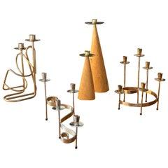 Swedish Design, Collection of Candlesticks or Candelabra, Wood, Brass, Steel