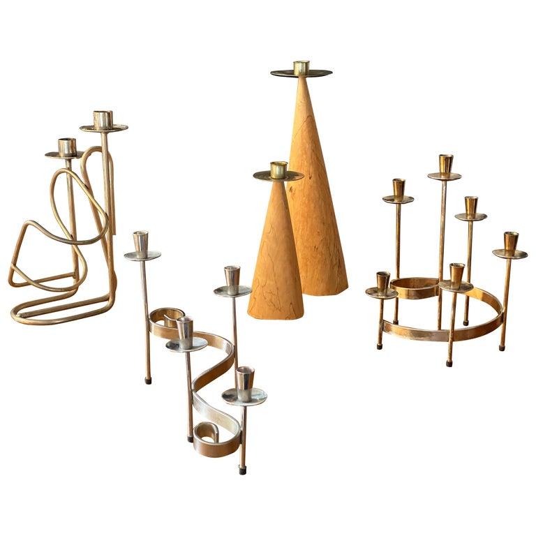 Swedish Design, Collection of Candlesticks or Candelabra, Wood, Brass, Steel For Sale