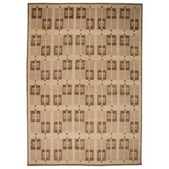 Swedish Design Flat-Weave Rug in Chocolate, Light Brown and Sand Beige