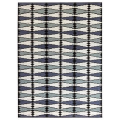 Swedish Design Handmade Wool Rug in Blue, Gray, White and Black