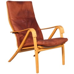 Swedish Design, Lounge Chairs of Beech and Leather, 1960s