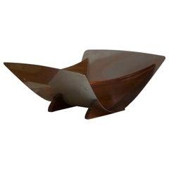 Swedish Design Modernist Vide Poche Bowl, Stainless Steel, Teak, Patented, 1950s
