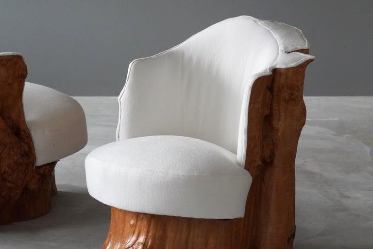Modern Swedish Design, Organic Log Chairs, Sold Wood, White Fabric, Sweden, circa 1960s For Sale