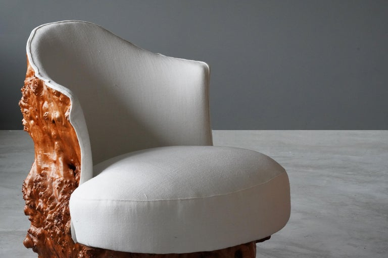 Mid-20th Century Swedish Design, Organic Log Chairs, Sold Wood, White Fabric, Sweden, circa 1960s For Sale