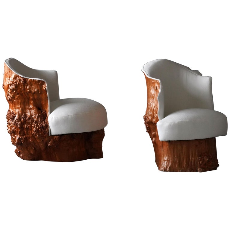 Swedish Design, Organic Log Chairs, Sold Wood, White Fabric, Sweden, circa 1960s For Sale