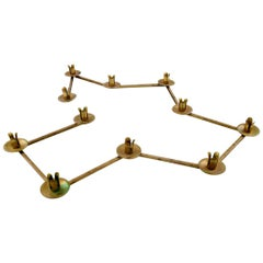 Swedish Design Table Candlestick for 11 Candles in Brass, Jointed, 1950s-1960s