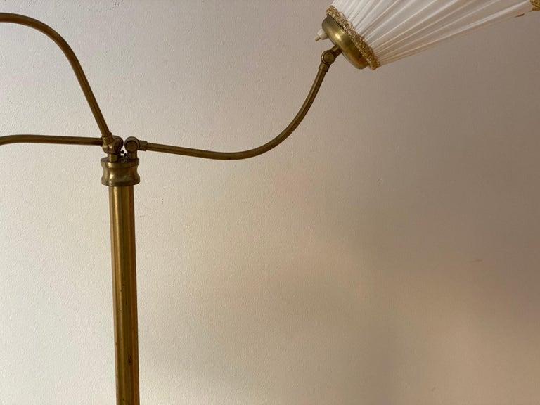 Scandinavian Modern Swedish Designer, Adjustable Floor Lamp, Brass, Fabric, Sweden, 1940s For Sale