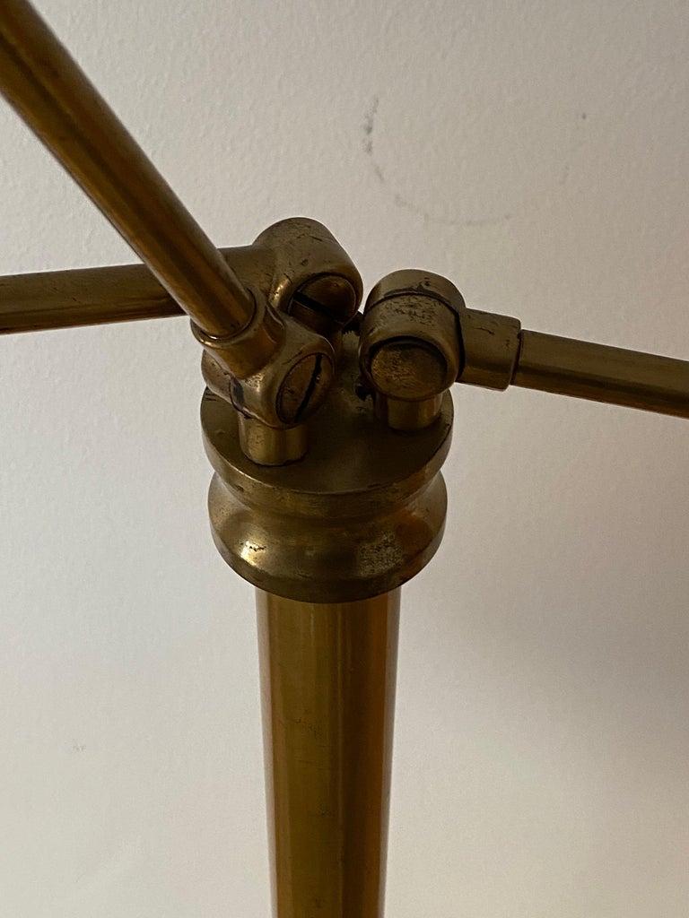 Mid-20th Century Swedish Designer, Adjustable Floor Lamp, Brass, Fabric, Sweden, 1940s For Sale