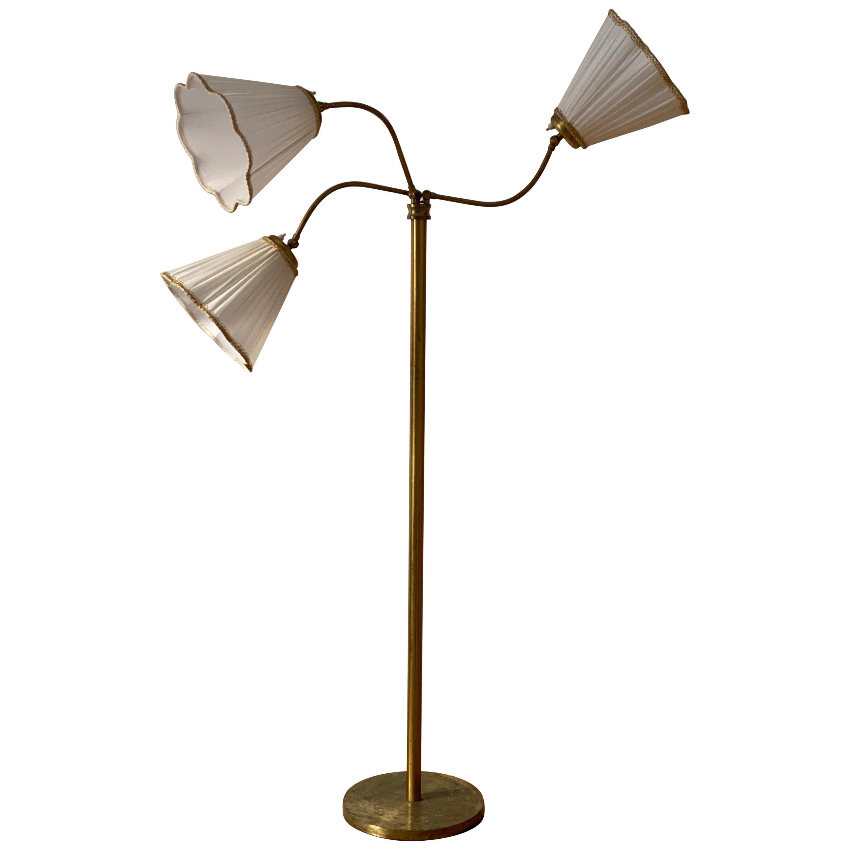 Swedish Designer, Adjustable Floor Lamp, Brass, Fabric, Sweden, 1940s