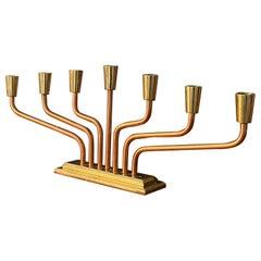 Swedish Designer, Adjustable Organic Candelabra, Copper and Brass, Sweden