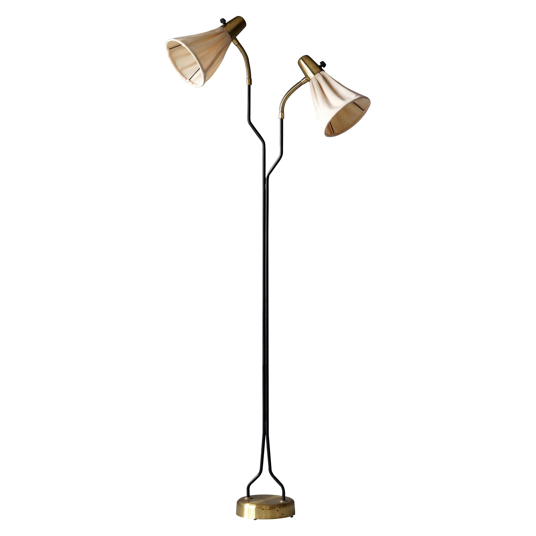 Swedish Designer, Adjustable Organic Floor Lamp, Brass, Fabric, 1950s
