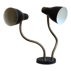 Swedish Designer, Adjustable Two-Armed Table Lamp, Lacquered Metal, Brass, 1950s
