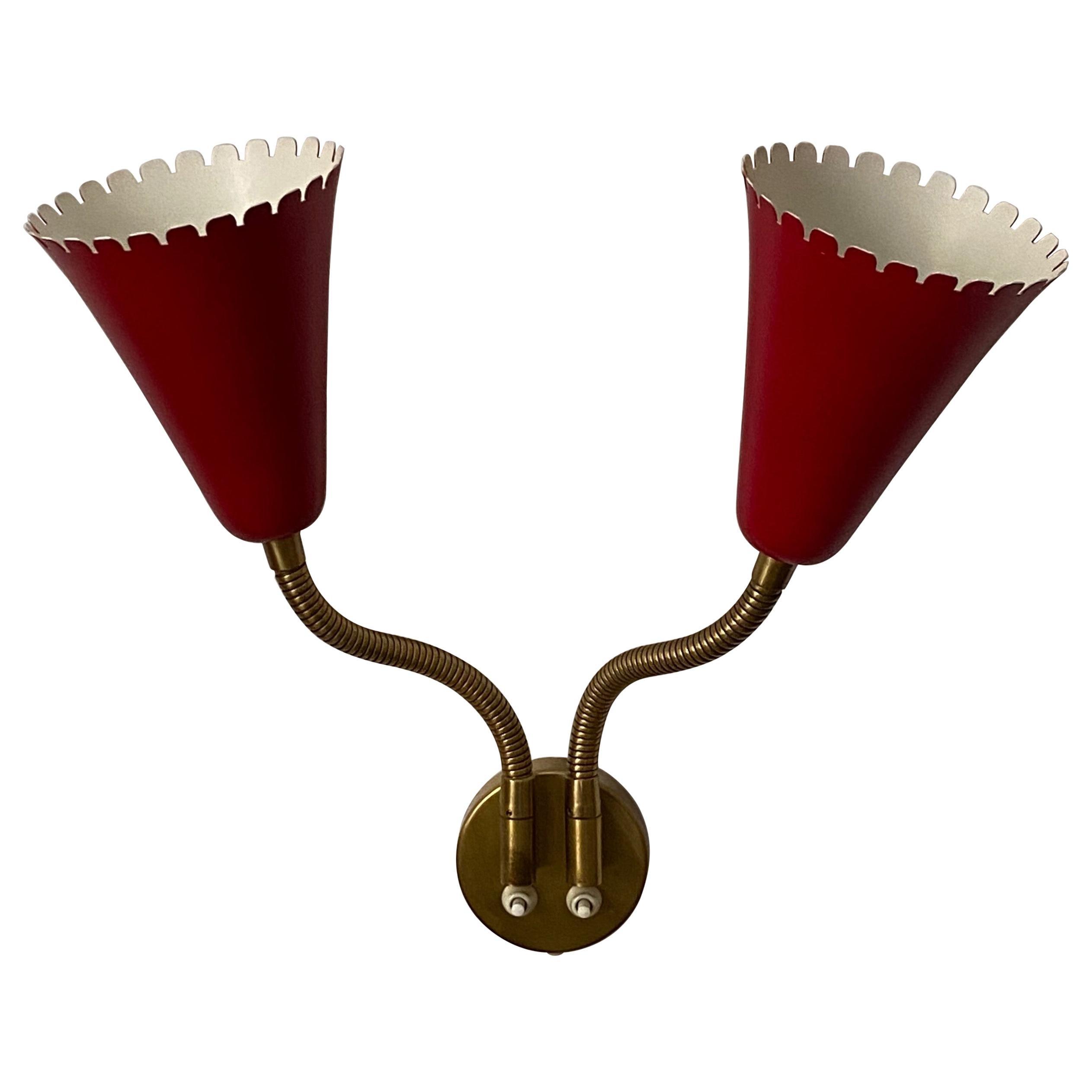 Swedish Designer, Adjustable Wall Light / Sconce, Brass, Metal, Sweden, 1950s