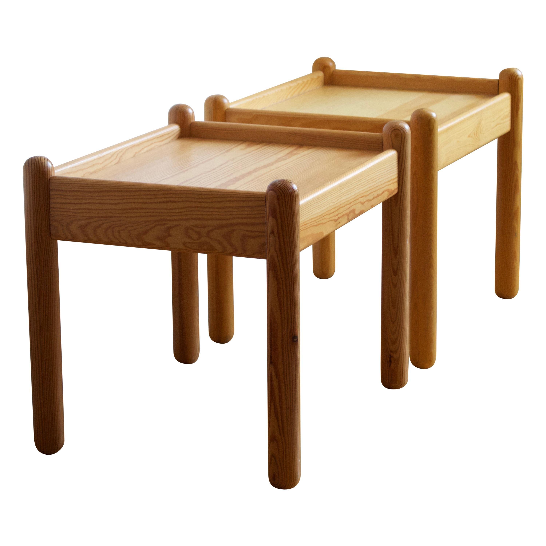 Swedish Designer, Bedside Tables / Side Tables, Solid Pine, Sweden, c, 1970s