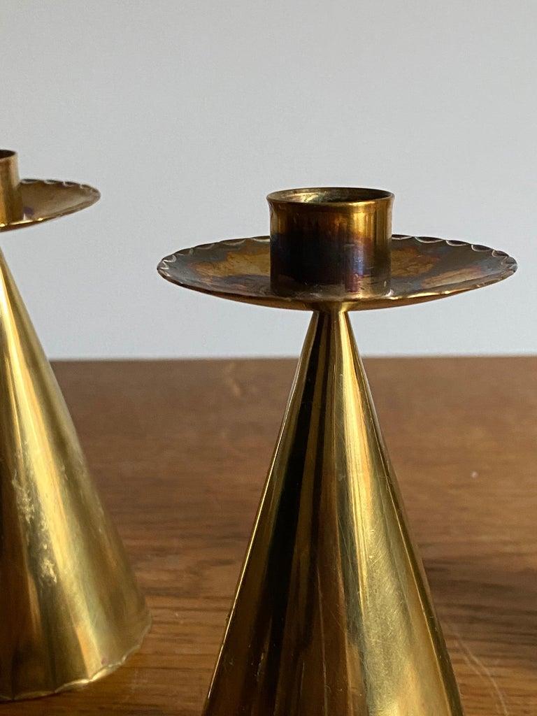 Mid-Century Modern Swedish Designer, Candlesticks, Brass, Sweden, 1950s For Sale