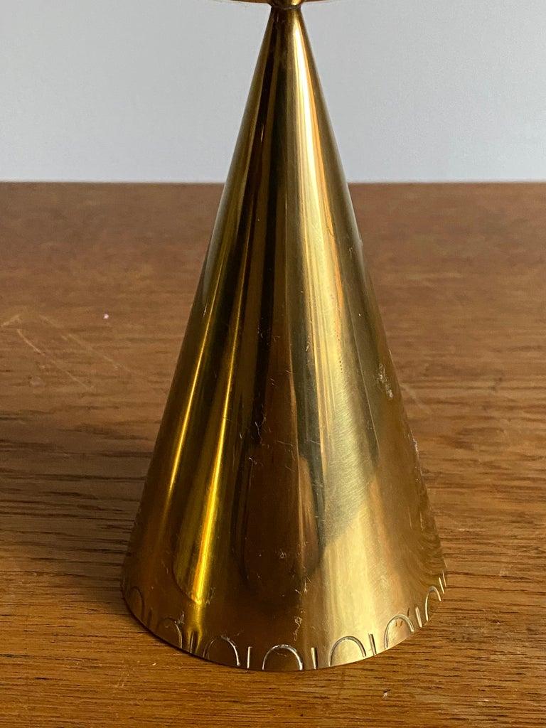 Swedish Designer, Candlesticks, Brass, Sweden, 1950s In Good Condition For Sale In West Palm Beach, FL