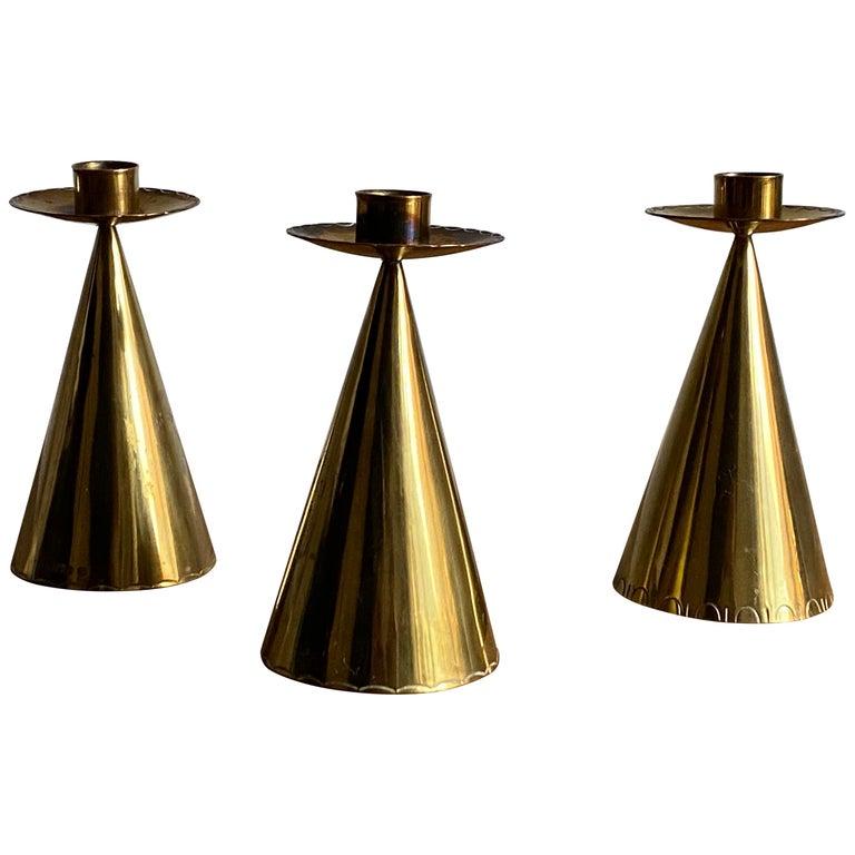 Swedish Designer, Candlesticks, Brass, Sweden, 1950s For Sale