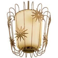 Swedish Designer, Ceiling Light / Pendant, Brass, Glass, Sweden, 1930s