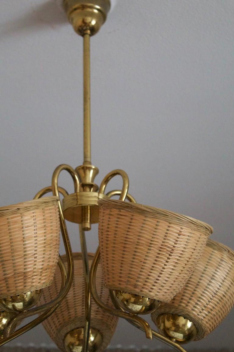 Mid-Century Modern Swedish Designer, Chandelier Light, Brass, Rattan, Sweden, c. 1950s