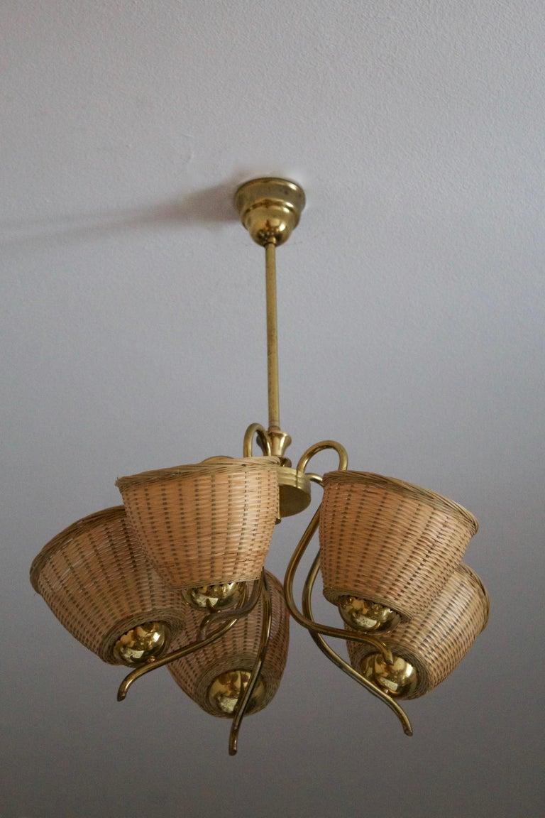 Mid-20th Century Swedish Designer, Chandelier Light, Brass, Rattan, Sweden, c. 1950s