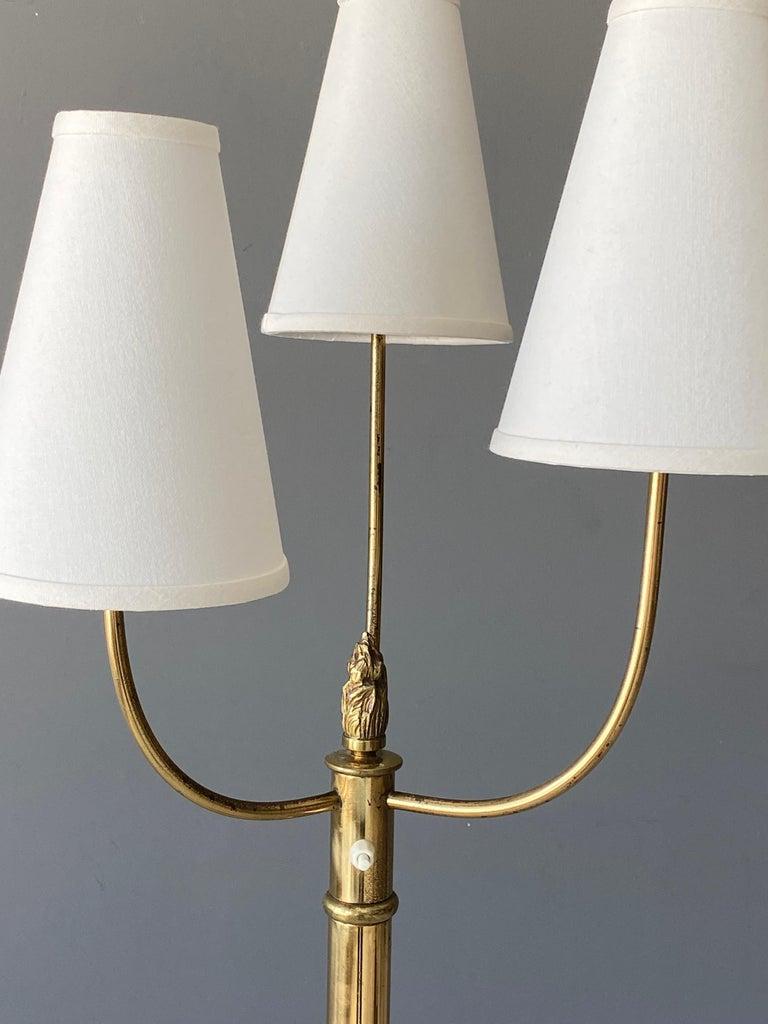 Scandinavian Modern Swedish Designer, Floor Lamp, Brass, Fabric, Sweden 1940s For Sale