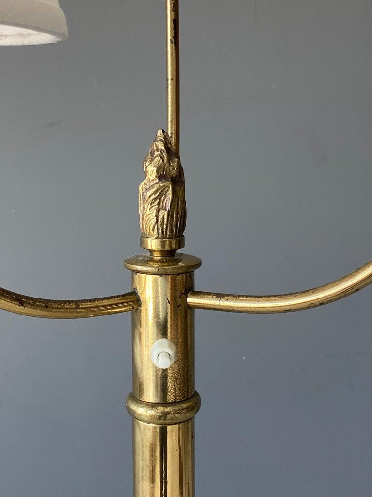 Swedish Designer, Floor Lamp, Brass, Fabric, Sweden 1940s In Good Condition For Sale In West Palm Beach, FL