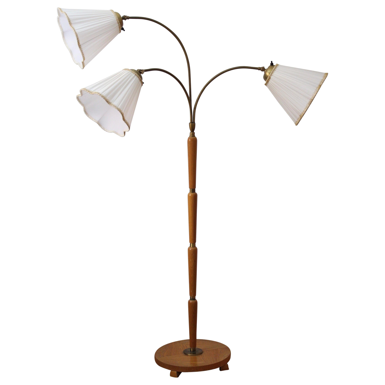 Swedish Designer, Functionalist Floor Lamp, Brass, Wood, Fabric, 1940s