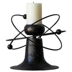 Swedish Designer, Large Modernist Candleholder, Patinated Iron, Sweden, 1940s