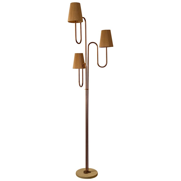 Swedish Designer, Large Organic Modernist Floor Lamp, Copper, Metal Paper 1950s For Sale