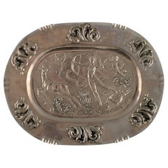 Swedish Designer, Large Oval Serving Dish in Metal with Classicist Hunting Scene